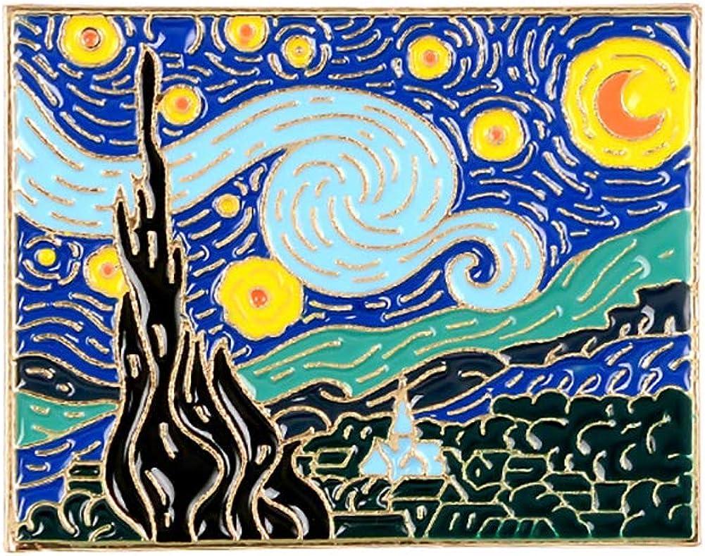 Weimoli 1pc Van Gogh Peinture /à lhuile Broche Starry Sky Version Cartoon de No/ël Broche pour V/êtements Cadeau Accessoires