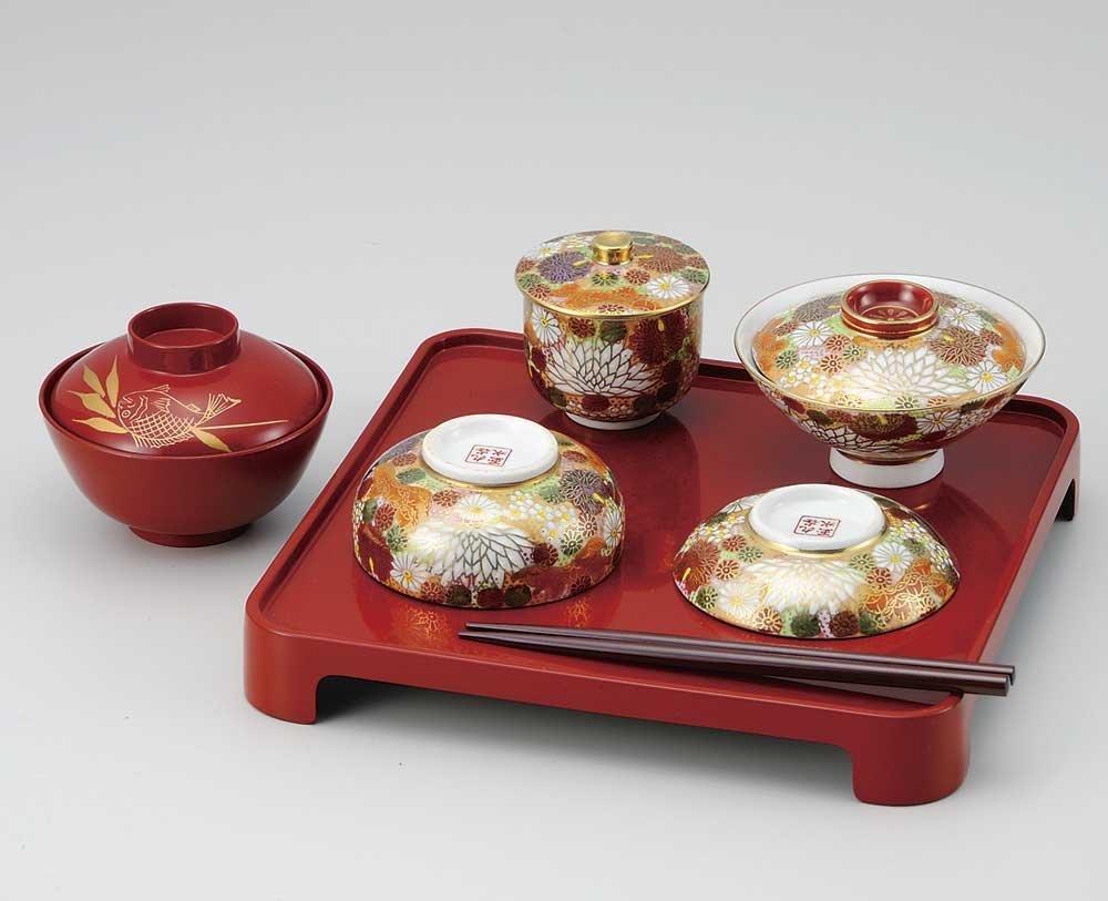 Kutani Pottery flower pattern Weaning ceremony dish set for children from Japan K4-385
