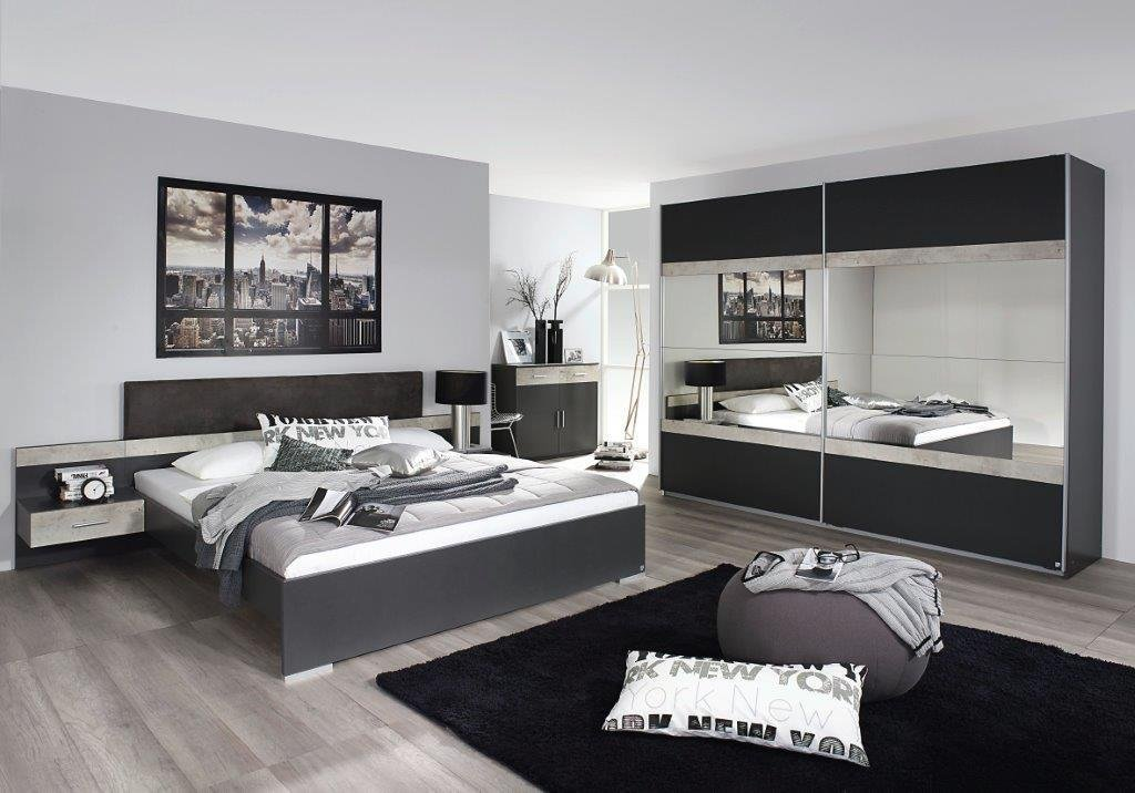 Schlafzimmer Komplett Set Schlafzimmerset Prenzlau Grau Metallic ...
