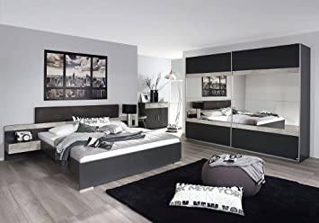 Schlafzimmer Komplett Set Schlafzimmerset Prenzlau Grau Metallic