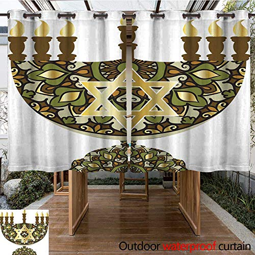 (RenteriaDecor Outdoor Curtain for Patio Menorah with Jewish Star W84 x L72)