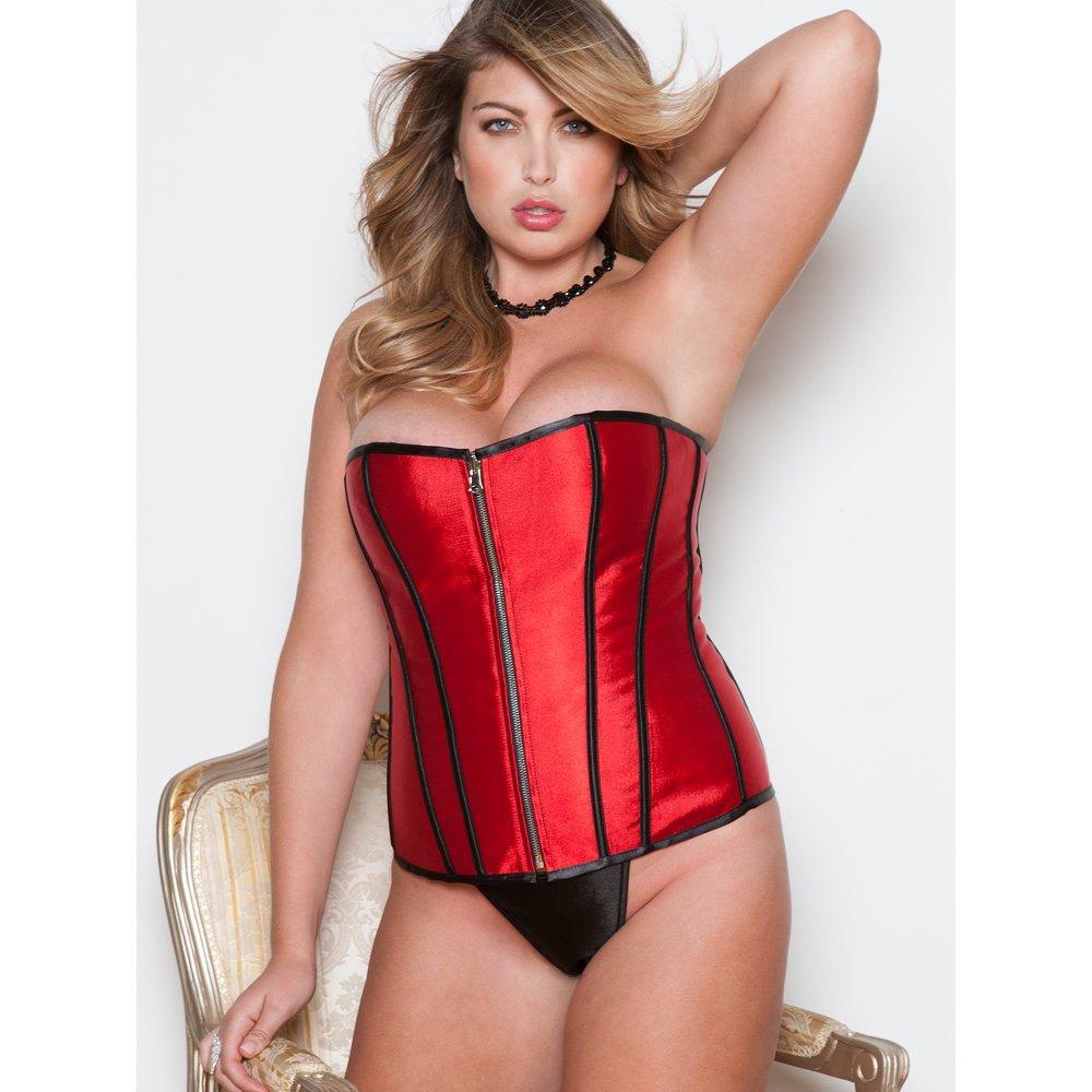 e58dff8b871 Amazon.com  iCollection Women s Plus Size Reversible Victorian Brocade Satin  Corset  Clothing
