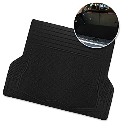 Zone Tech All Weather Rubber Semi Pattern Cargo Liner Trunk Floor Mat – Premium Quality Black Heavy Duty Cargo Trunk Floor Mat: Automotive