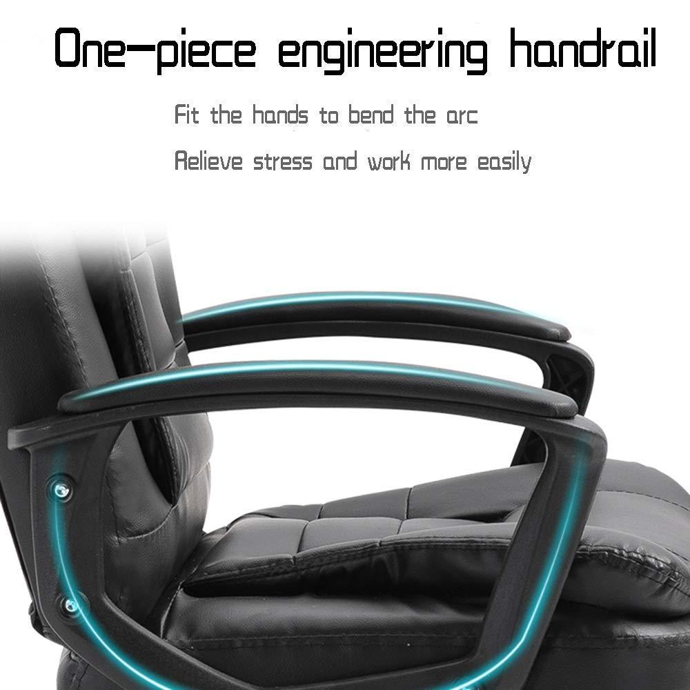 JIEER-C stol datorstol, ergonomisk kontorsstol rosett fot läder skrivbord spelstol bärkapacitet: 150 kg, vit Vitt