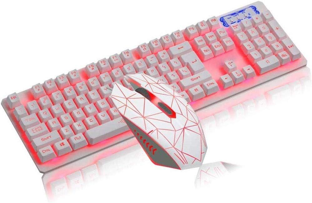 LMDH Keyboard Mouse Combo Gamer Wired White LED Backlit Punk Keycap Metal Pro Gaming Keypad