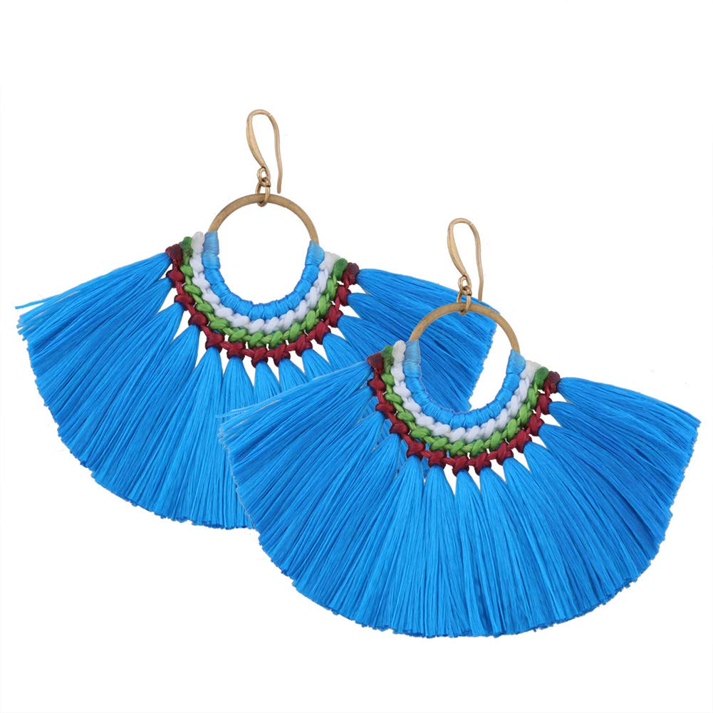 Vintage Hand Woven Fan Shaped Thread Tassel Dangle Earrings Bohemian Ethnic Statement Drop Earrings