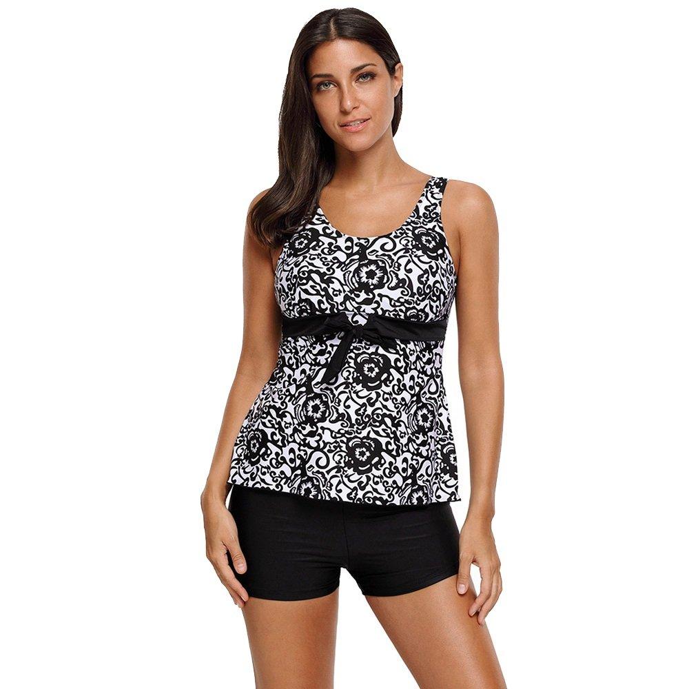 女性の 水着 印刷 ビキニ ローウエスト 保守的な 水着 (Color : Black, Size : L) B07F5CFCJP Large|Black