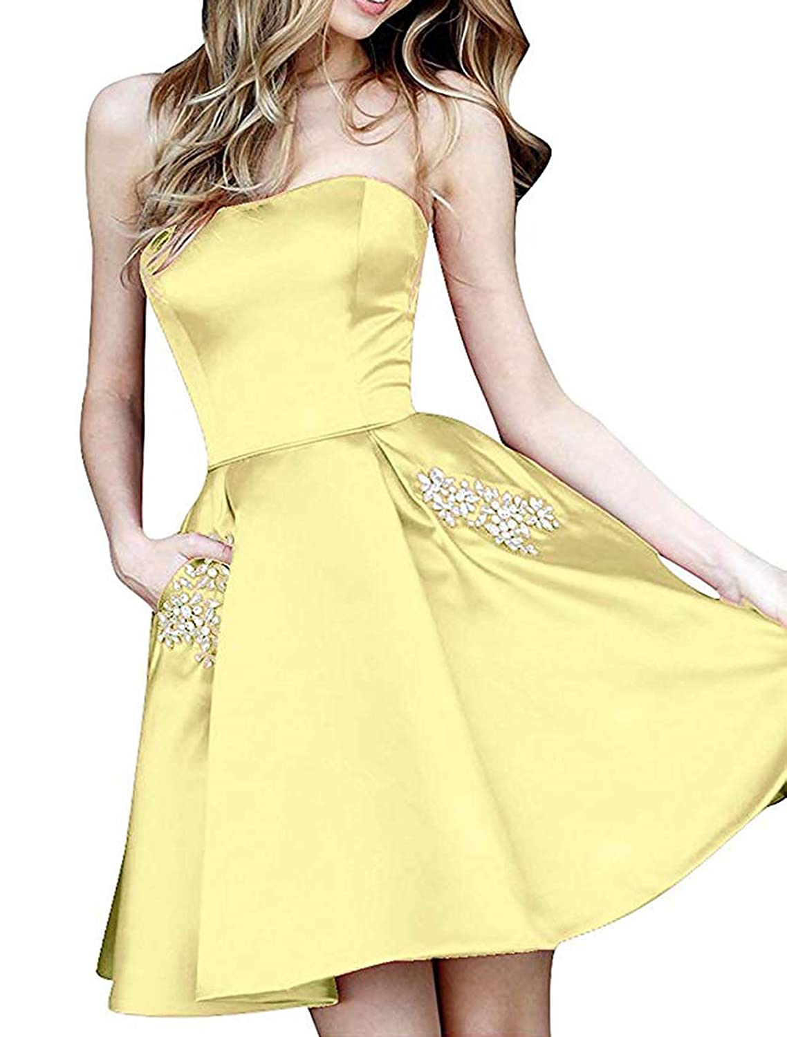 Yellow TTYbridal Strapless Beaded Homecoming Dresses Short Satin Cocktail Prom Gown with Pockets HD3