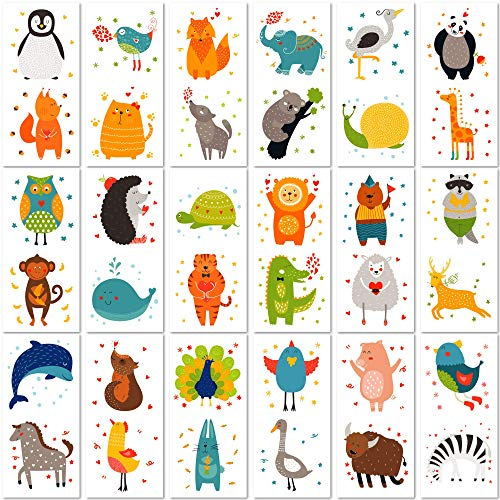 PapaKit Cute Zoo Animals 36 Temporary Tattoos Set | 18 Individually Wrapped Sheets | Non-Toxic FDA Approved Ingredients Safe Removable | Boys Girls Children's Birthday Party Favor Supplies ()