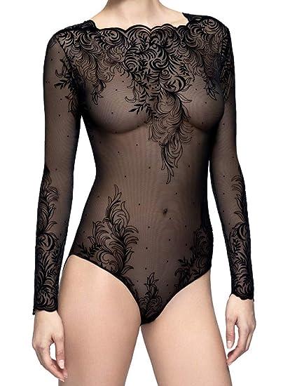 4db2d8e31a7 Pierre Mantoux Tatuage Sheer Bodysuit-Medium-Nero at Amazon Women s  Clothing store