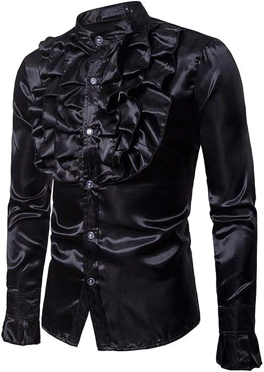 Camisa de los hombres Para hombre traje floral brillante Slim Fit Stand Collar camisa de manga larga con botones para la fiesta del disco banquete escenario rendimiento Masquerad Camisas casuales: Amazon.es: Hogar