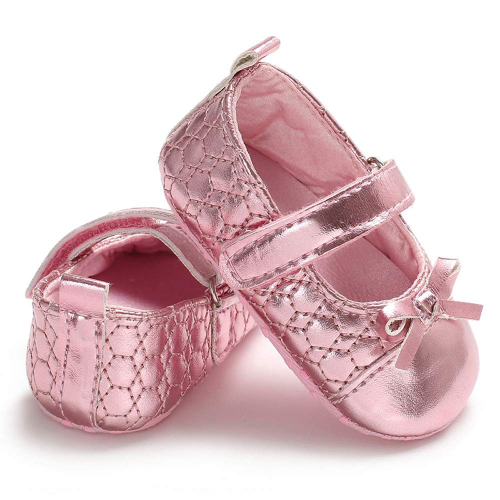UCQueen Infant Newborn Baby Girls Shoe Bow Soft Crib Anti-Slip Single Sneaker