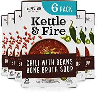 product image for Chili with Beans and Grass Fed Beef and Bone Broth by Kettle and Fire, Pack of 6, Gluten Free Collagen Soup on the Go, Non GMO, 18g of protein, 16.9 fl oz