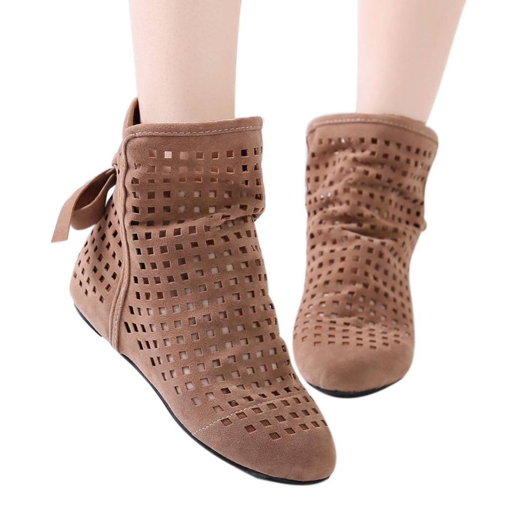 Baigoods Women Boots Flat Low Hidden Wedges Cutout Ankle Boots Casual Shoes Cute Bowknot Booties