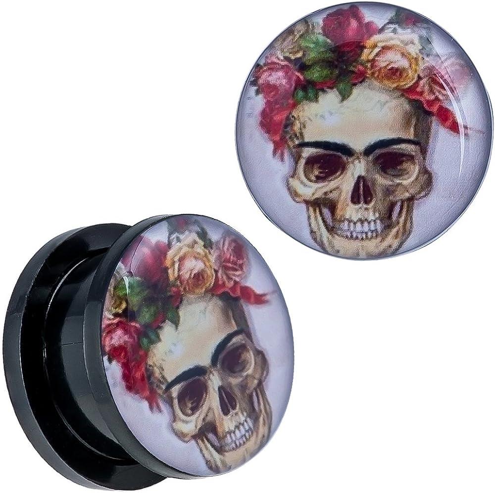Covet Jewelry Blue Sugar Skull Black Acrylic Stash Screw Fit Plug