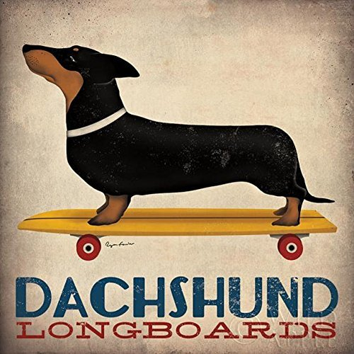 Buyartforless Dachshund Longboards by Ryan Fowler 27x27 Art Poster Print Wall Decor Folk Art Sign Vintage Advertising Skateboard and Weiner Dog