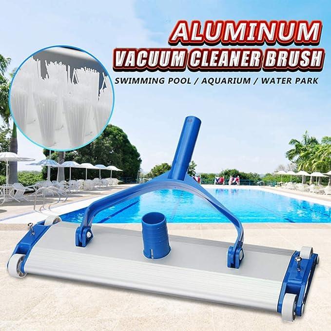 Aleación De Aluminio Pool Maintenance Kit, Cabezal De Succión De Vacío De Piscina Giratoria con Varilla Telescópica De 2 M, con Ruedas Herramientas De Limpieza De Piscinas,17.5in: Amazon.es: Hogar