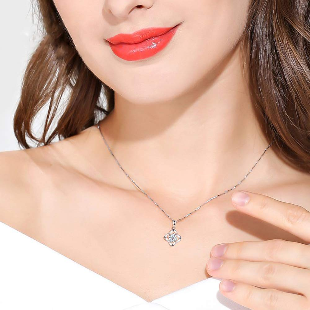 Jewellery Set for Women 925 Sterling Silver Clover Pendant /& Stud Earrings /& Bracelet with White Cubic Zirconia Hypoallergenic Jewelry Wedding Engagement Birthday Gift Come in Gift Box of Zolkamery