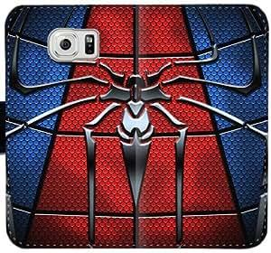 Spiderman Logo caja del cuero R9K8C Funda Samsung Galaxy S6 Edge Funda Caso fJ41e8 Teléfono Móvil Flip funda genérica