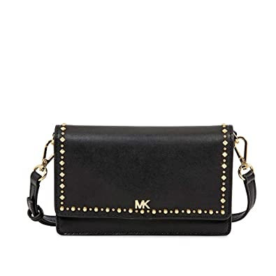 d679b2b2cde5 Michael Kors Studded Leather Phone Cross-Body Bag- Black: Handbags ...