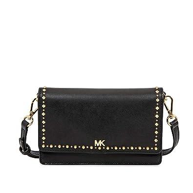 33209c7d8a0e Michael Kors Studded Leather Phone Cross-Body Bag- Black  Handbags ...
