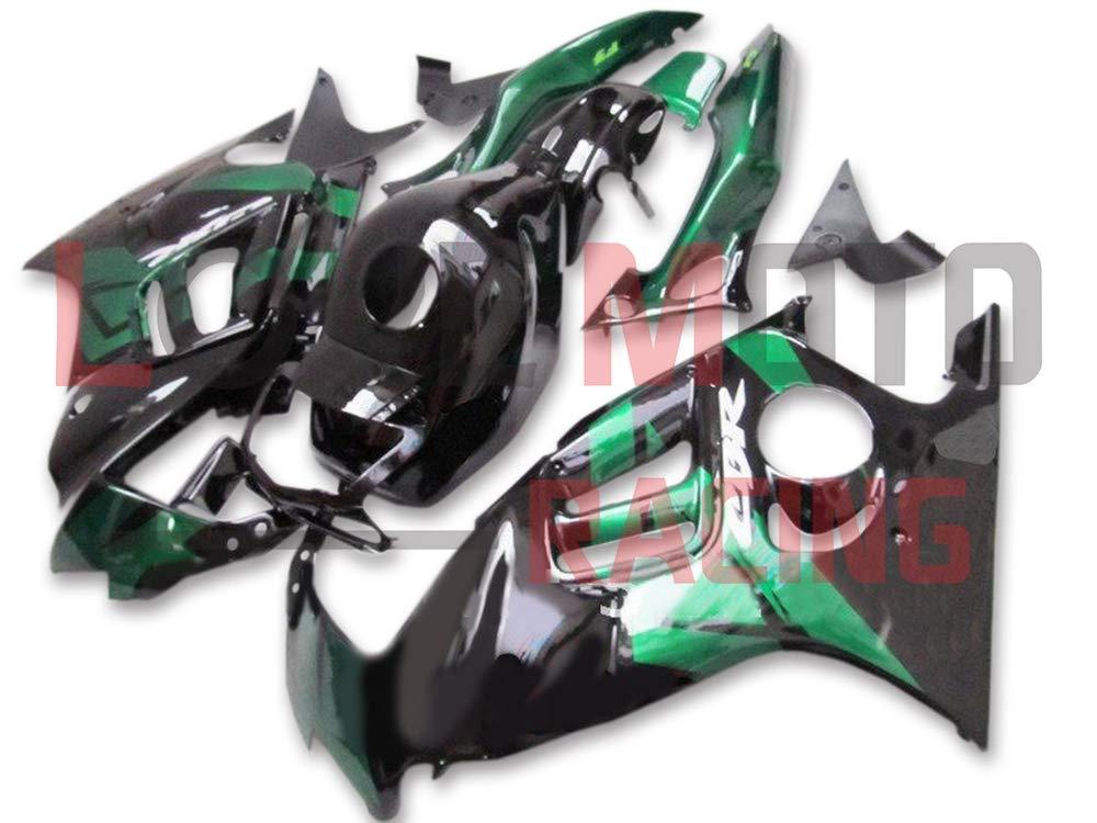 LoveMoto ブルー/イエローフェアリング ホンダ honda CBR600F3 CBR600F 1997 1998 97 98 CBR 600 F3 ABS射出成型プラスチックオートバイフェアリングセットのキット ブラック グリーン   B07KBVVTDR