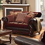 FOA Wholesale Franklin Regal Sophisticated Loveseat Traditional Style, Dark Brown
