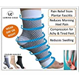 Lumino Cielo All-Day Compression Socks for Plantar Fasciitis Pain relief Ankle Support - sleeve style (L/XL, White)