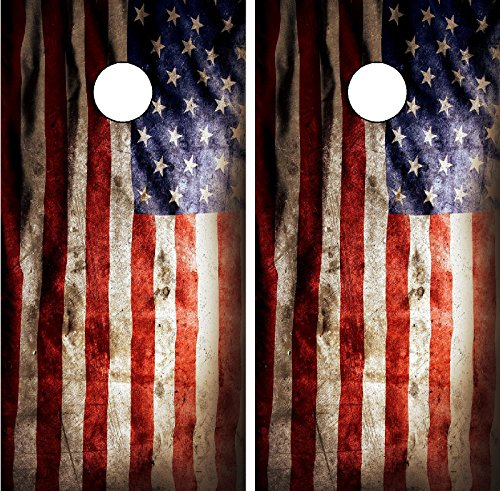 C196 Distressed American Flag Cornhole WRAP Wraps Laminated Board Boards Decal Set Decals Vinyl Sticker Stickers Bean Bag Game Vinyl Graphic Tint Image