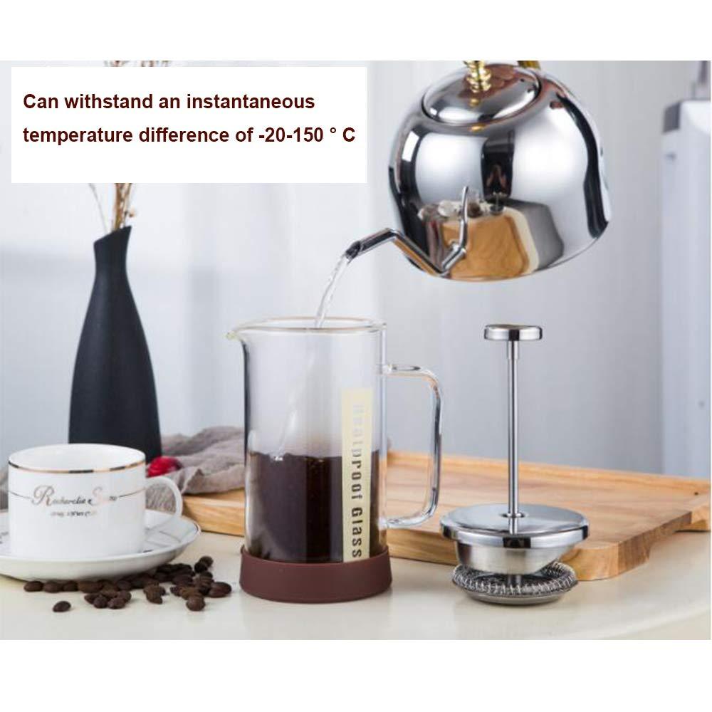cafetera espresso de cristal cafetera tetera tetera con escala doble-gradas de vidrio,300ml Prensa francesa cafetera