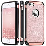 iphone 5s gold t mobile - iPhone SE Case, iPhone 5S Case, BENTOBEN iPhone 5 Case 2 In 1 Glitter Bling Hybrid Hard PC Cover Coat Shiny Faux Leather Shockproof TPU Bumper Protective Phone Case for Girls iPhone 5S/SE/5, Rose Gold