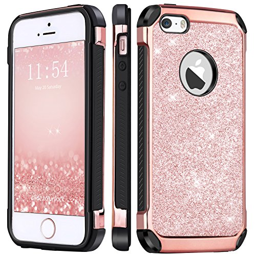 iPhone 5 Case,iPhone 5s Case, iPhone SE Case,BENTOBEN 2 In 1 Glitter Bling Hybrid Hard Cover Laminated with Shiny Faux Leather Shockproof Bumper Protective Phone Case for iPhone 5/5S/SE, Rose Gold