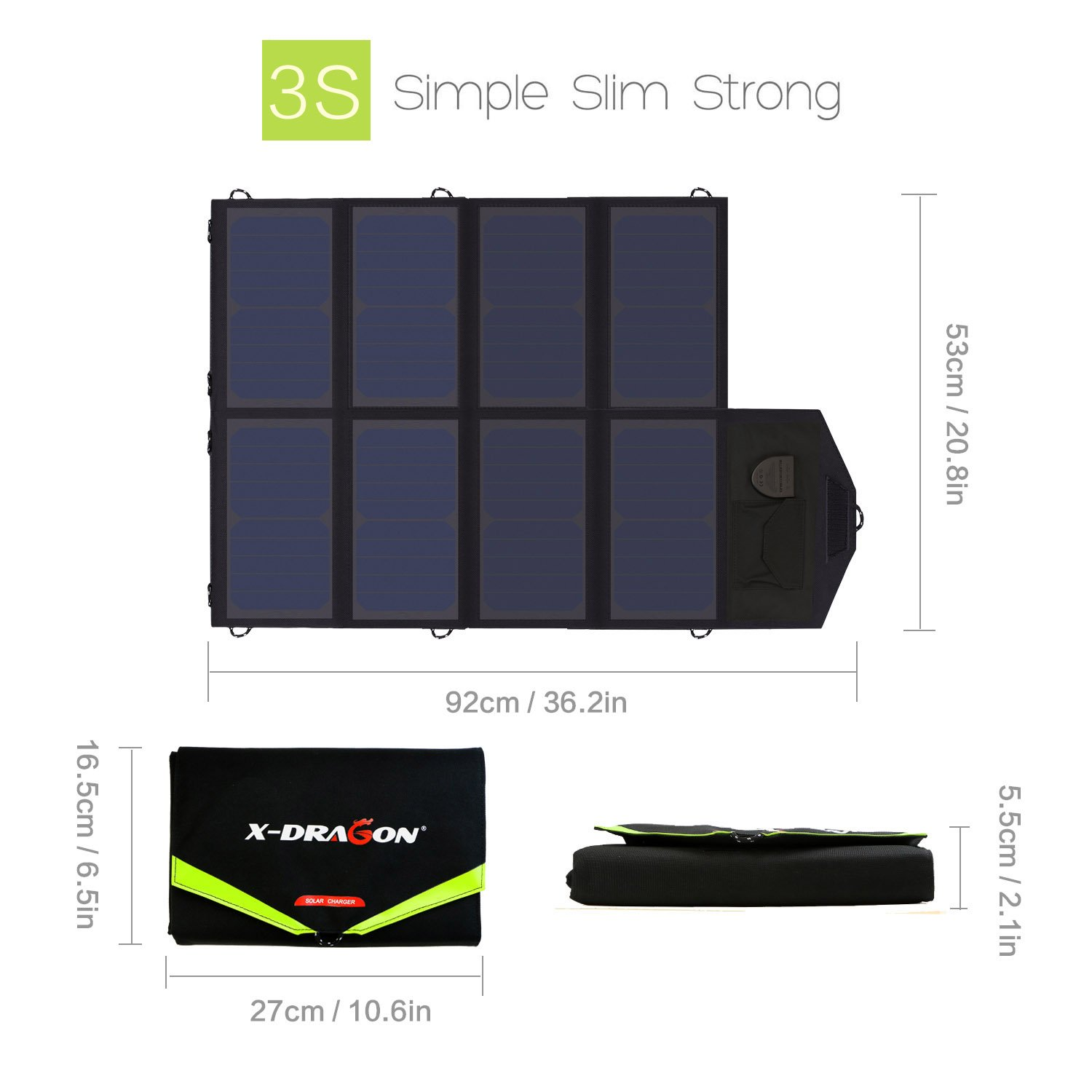 Solar Charger, X-DRAGON 40W SunPower Solar Panel Charger (5V USB with SolarIQ + 18V DC) Water Resistant Laptop Charger for Phone, NoteBook, Tablet, Apple, iPhone, iPod, Samsung, Android Smartphones by X-DRAGON (Image #2)