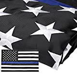 Homdox Thin Blue Line Flag 3x5 Ft with Embroidered Stars Sewn Stripes Blue Lives Matter Flag for Police and Law Enforcement Officers