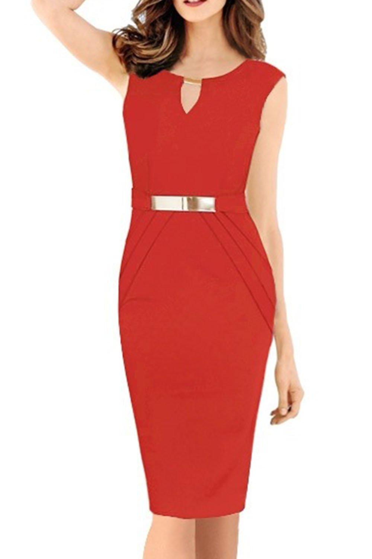Yacun Women's Sleeveless Pencil Bodycon Dress Work Dresses CAYbzA8011