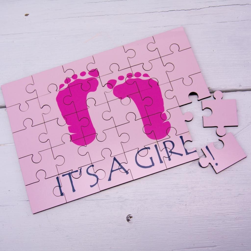 C'est une fille Message Secret Puzzle en bois NOUVEAU bébé Grossesse annonce Enceintes Idée moderne 60 Second Makeover Limited