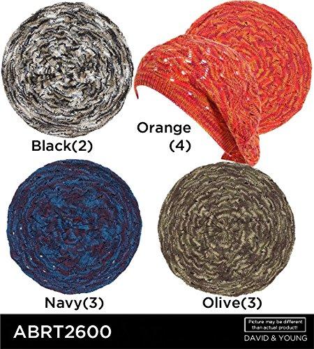 - Soft Spacedyed Open Knit Pointelle Beret Hat Cap (Black)