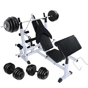 Physionics - Banc de Musculation Multifonction avec Haltère Long (60 kg) et 2  Haltères 4a0a785d79c