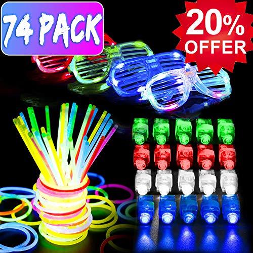 Discount Glow Sticks (YAKOO 74 Pcs LED Light Up Glow Toys - Glow Sticks Toy Bulk Glow in The Dark Party Pack Favor for Kids Teen Prime Discount Gift with Glow Sticks Bracelet,)