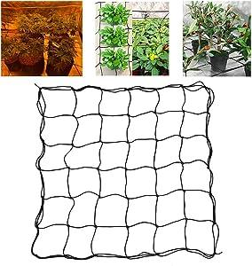 CALIDAKA 3x3FT Grow Tent Netting,Elastic Trellis Netting with Hooks for Grow Tents, Flexible Net Trellis for Garden Grow Tent and Crops, Climbing Vegetables Fruits Flowers