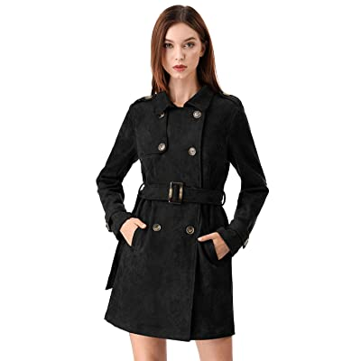 Allegra K Women's Notched Lapel Double Breasted Faux Suede Trench Coat Jacket with Belt: Clothing