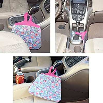 Case New Lightweight Neoprene Auto Trash Bag Sleeve Pouch/Litter Bag/Car Trash Keeper/Garbage Holder/Trash Liner Bag Case& Auto Organizer Storage Bag, Stick Shift Car Garbage Bin-Purple Cats: Automotive