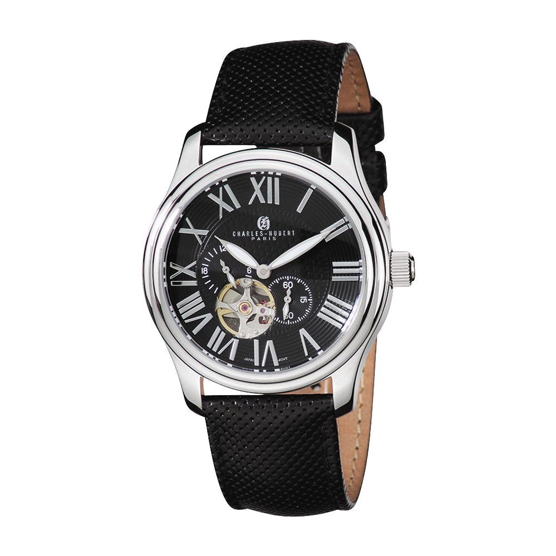 ステンレス鋼ケースブラックダイヤル自動時計by Charles Hubert Paris腕時計、無料ギフトボックス B00D86NNPW