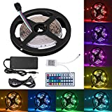 DELWE 16.4ft LED Flexible Strip Lights, 150 Units 5050 RGB LED Strip Lights, DC 12v LED Strip Lights with 44Key Remote Controller and Power Supply for Kitchen Bedroom Party Indoor/Outdoor Ornament