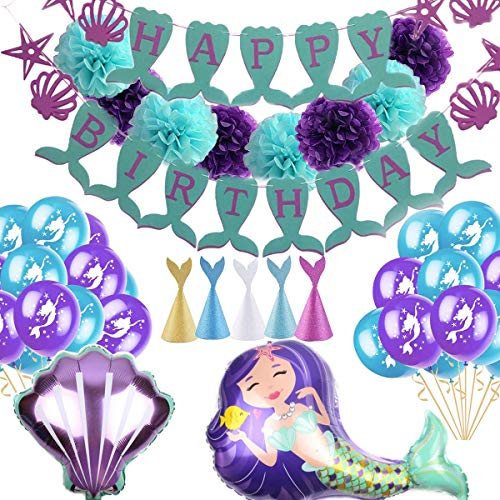 Mermaid party supplies kit - Party favors Girls and boy Birthday Party Decoration Happy Birthday Banners Pom poms Flowers Mermaid Balloons -