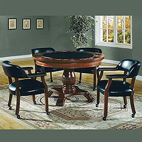 Steve Silver Tournament 6-piece Dining Set with Gaming Top - Black Poker Game Table