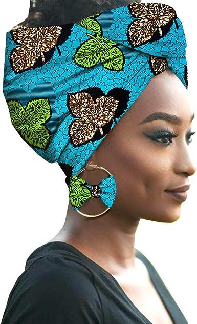 Deylaying Diademas Bufanda con Aretes para Mujer Niña - Elegante Turban Africana Algodón Pañuelo Cobertura de Cabeza: Amazon.es: Ropa y accesorios