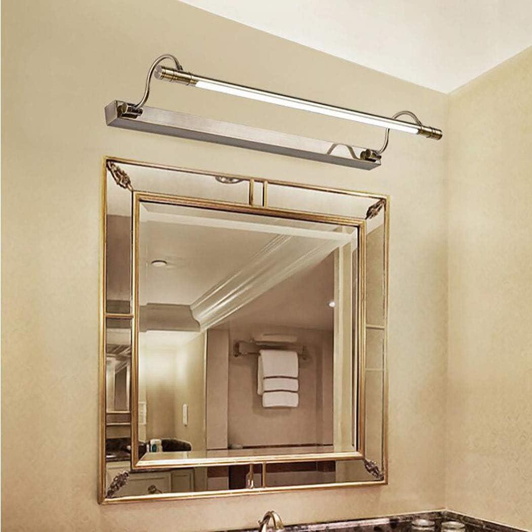 3 Farbtemperatur LED Spiegelleuchten ,56cm 10W Badezimmer-Spiegellampe 180 /° Einstellbarer mit Schalter Edelstahl-Bad-Spiegellampe Antik Wandleuchten