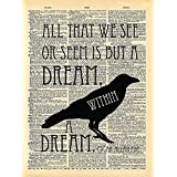 Dictionary Print, Edgar Allan Poe, Dream within a Dream Quote Vintage Dictionary Art Print 8x10 inch Home Vintage Art for Home Decor Wall Decorations For Living Room Bedroom Office Ready-to-Frame