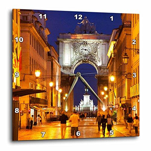 3dRose Danita Delimont - Lisbon - Portugal, Lisbon, Rua Augusta, Commerce Square with night lights - 15x15 Wall Clock (dpp_249521_3) (Augusta Light Fifteen)